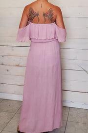 Strapless Ruffled Sleeves Maxi Dress
