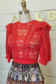 Short Sleeve Lace Crop Top- Red