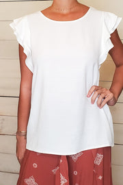Flutter Sleeves Scoop Neck Top