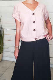 Roll-Up Sleeve Button Down Top- Dusty Rose