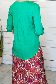 Roll-Up 3/4 Sleeve Top- Green
