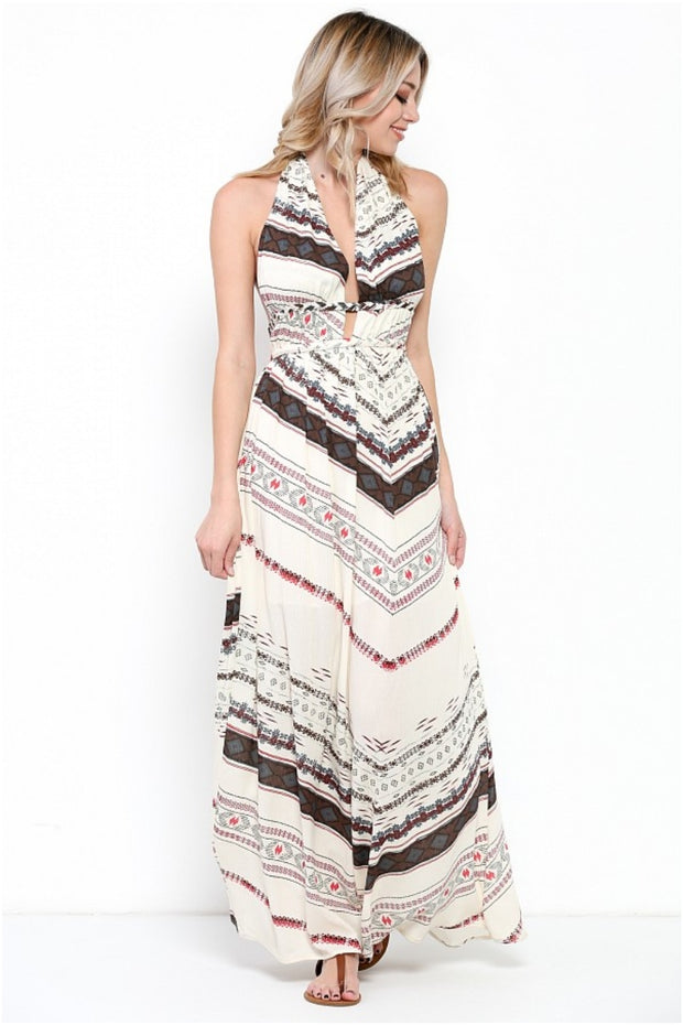 Ethnic Print Halter Maxi Dress
