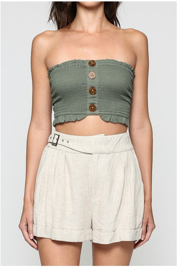 Strapless Smocked Crop Top- Olive