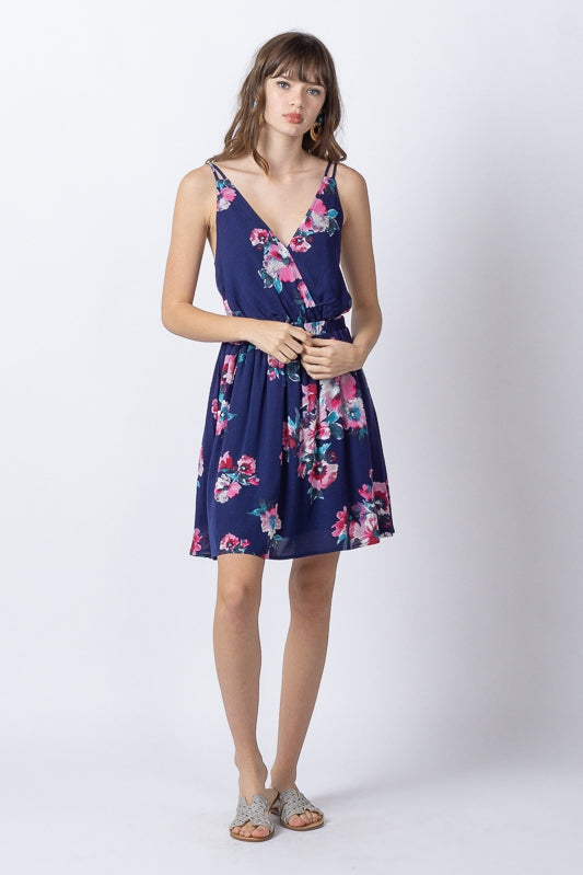 Floral Sleeveless Strappy Back Short Dress- Navy