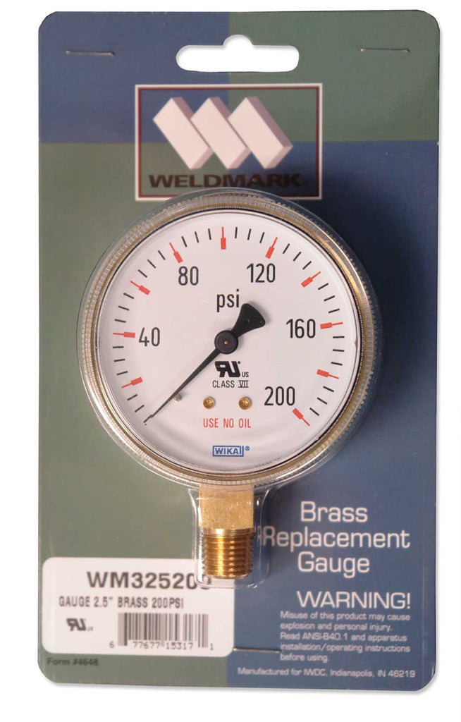 325200 Weldmark Gauge 2-1/2in x 200 LB Brass