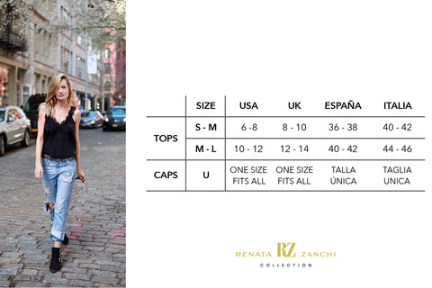 International sizes for Renata Zanchi Collection