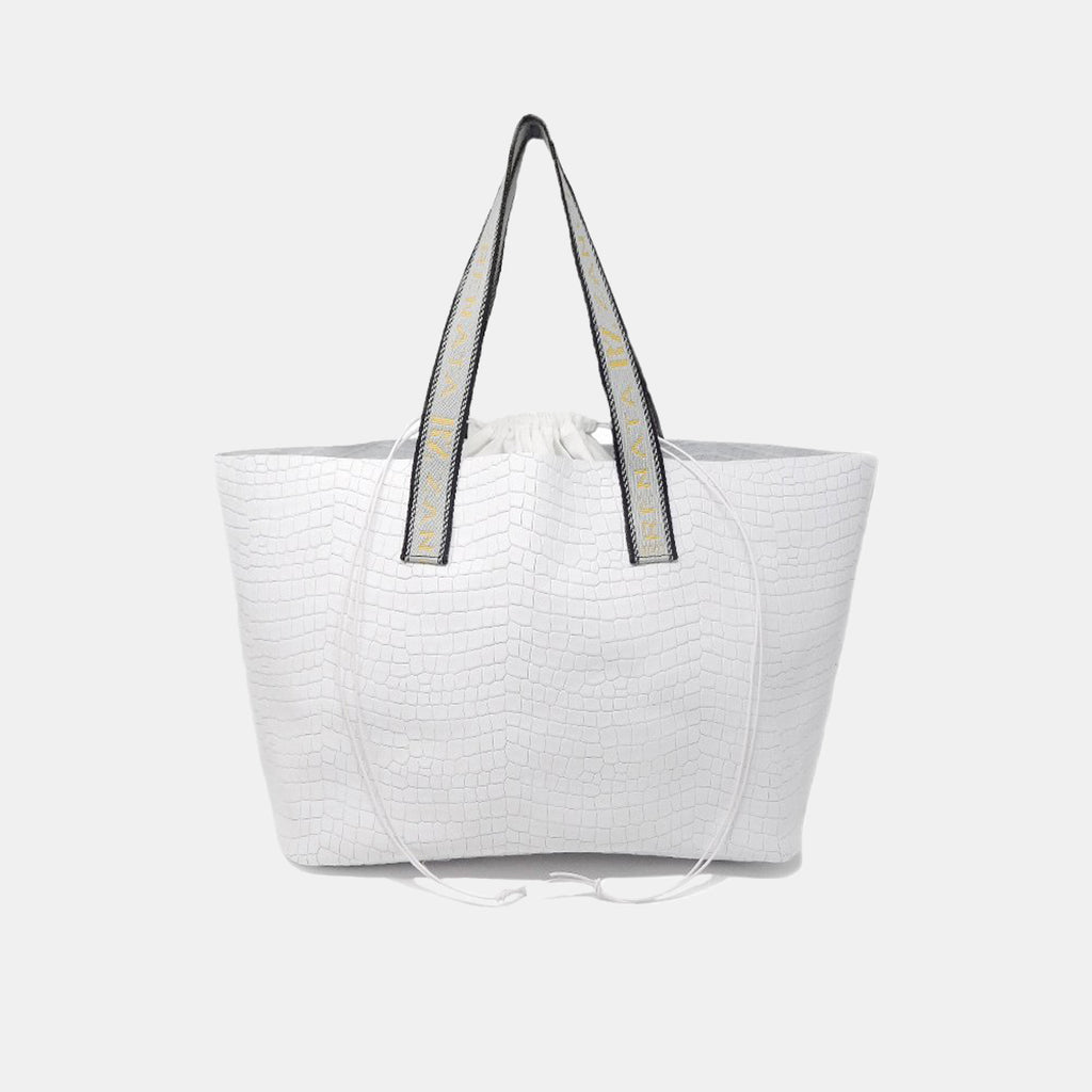 California white bag with text straps