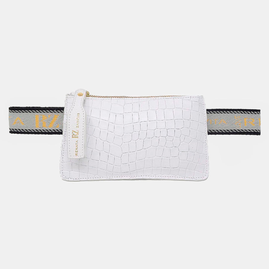 White little fanny bag with text straps
