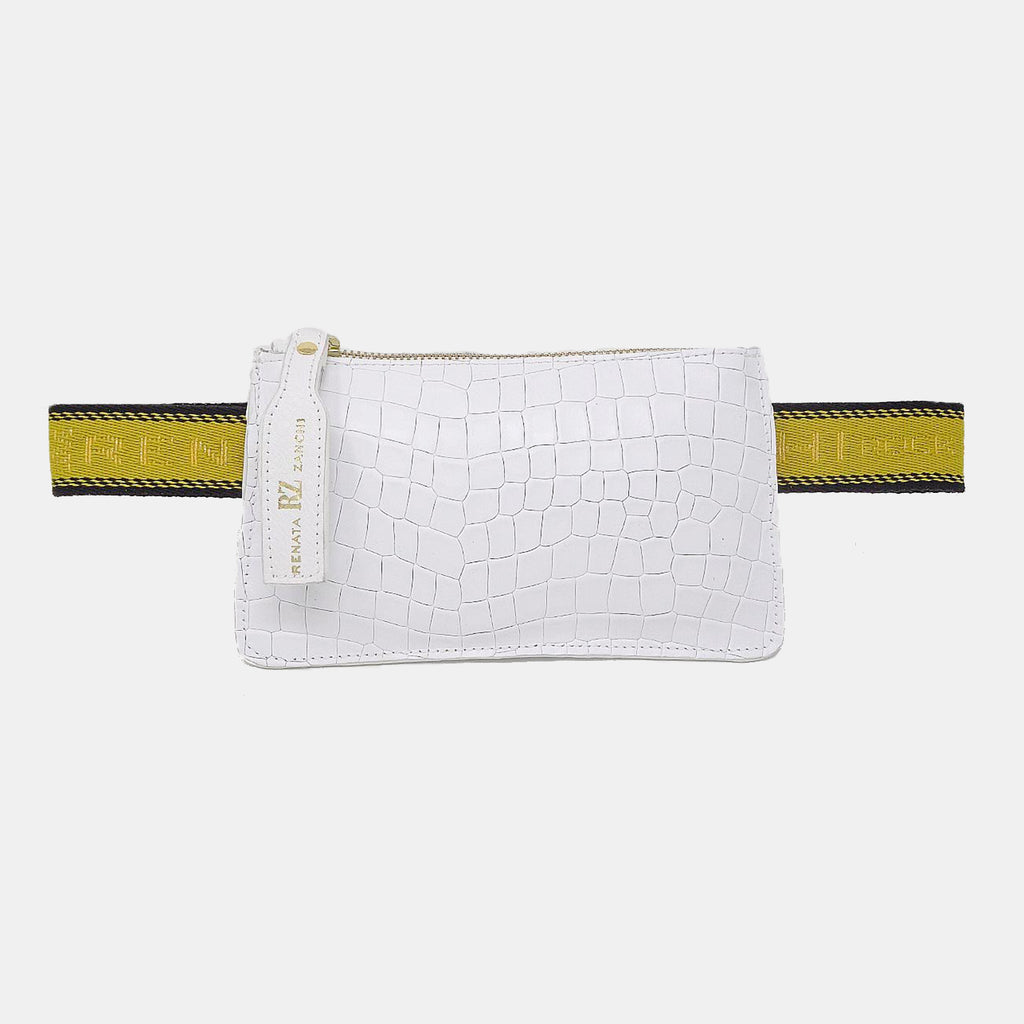 White belt pouch bag with text straps