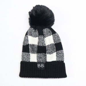 Plaid Pom BB Hat (Detachable Pom)