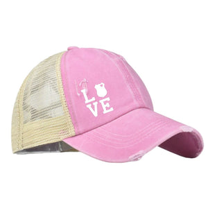 CRISS CROSS BACK ~ B.B. Ponytail Cap Pink Distressed (Plain or 30+ Options w/designs)