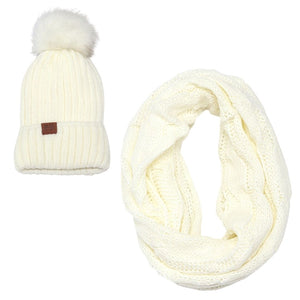 White VIP BB Pom Hat & Scarf Bundle