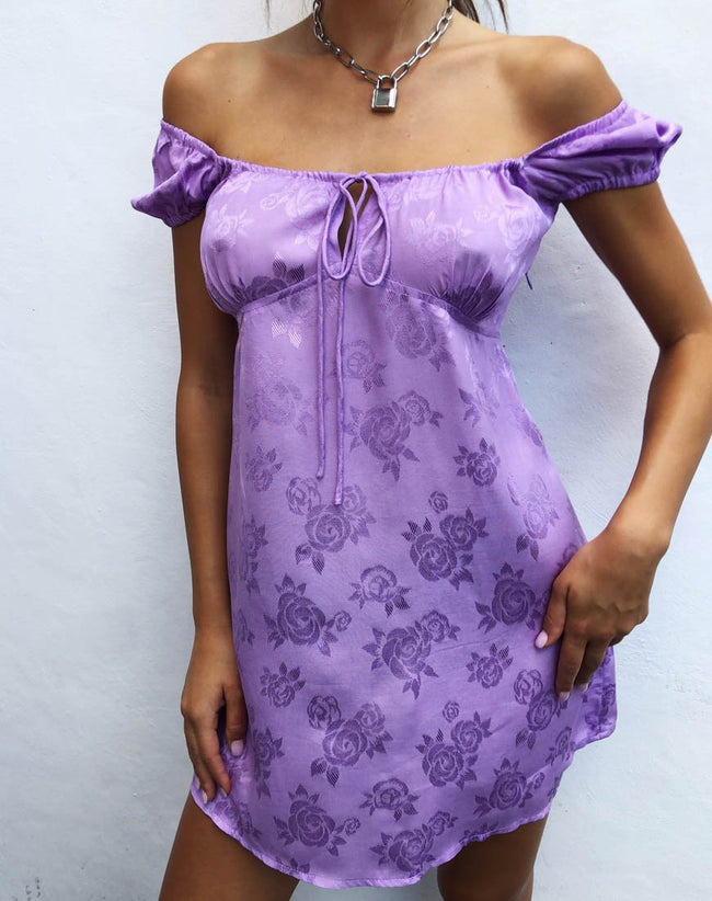 Gaval Mini Dress in Satin Rose Lilac by Motel