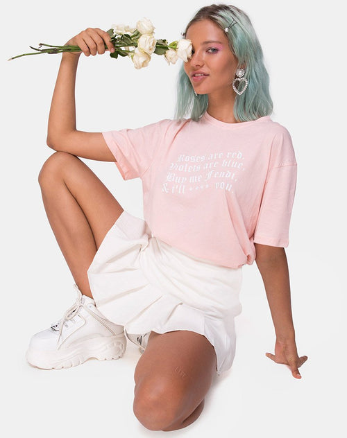 Oversize Basic Tee in Pink with Roses are Red Text by Motel X Top Girl
