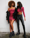 Shimla Crop Top in Winter Plaid Red / Black