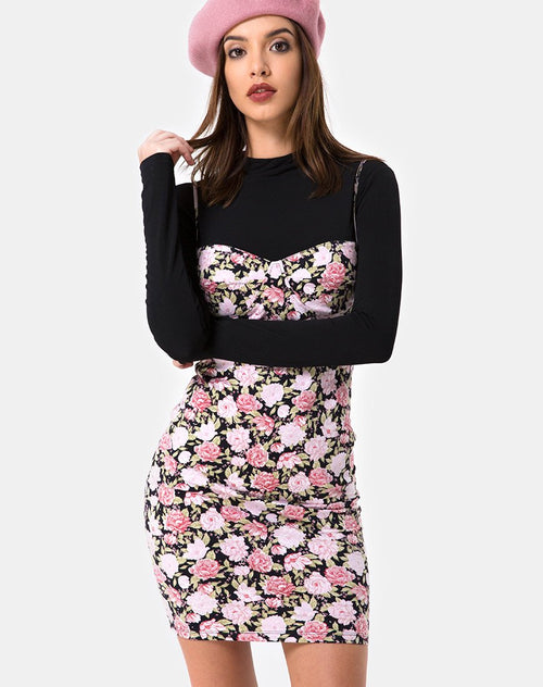 Alvina Bodycon Dress in Bloom Floral Black Base by Motel