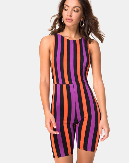Acro Unitard in Stripe Purple and Orange by Motel