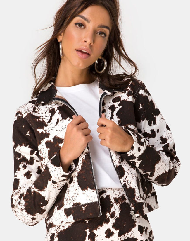 Agatha Jacket in Cow Hide Brown and White by Motel