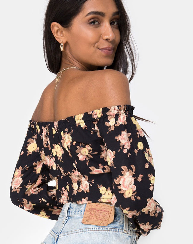 Aneca Off The Shoulder Top in Antique Rose Black by Motel