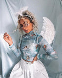Lara Crop Top in Angel Sky Blue Mesh by Motel