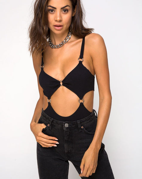 Belina Cutout Bodice in Black by Motel