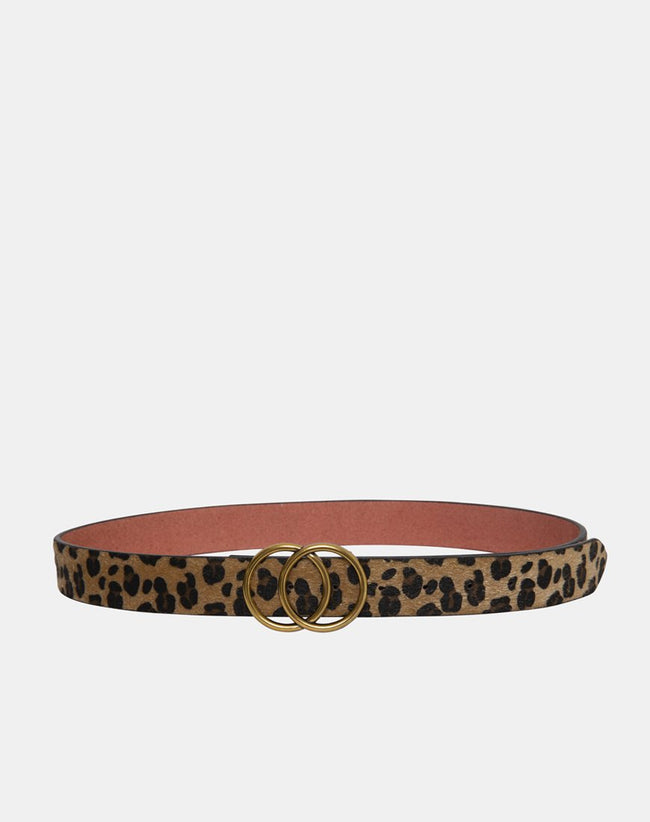 Leopard Leather Belt with Round Buckle by Motel