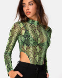 Berani Bodice in Slime Lime Snake Mesh by Motel
