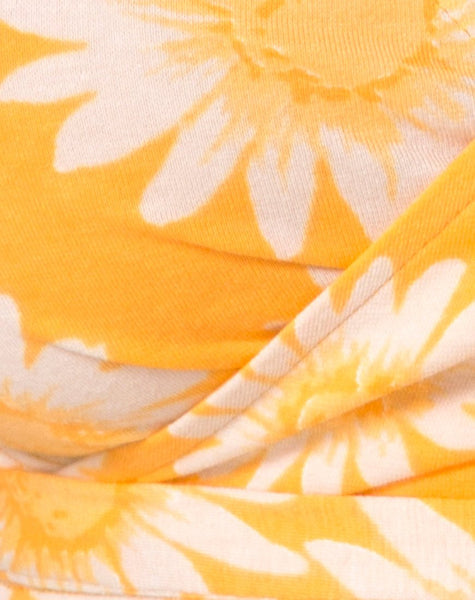 Biaz Wrap Crop in Sunkissed Floral Yellow by Motel