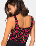 Bida Bodice in Red Bloom By Motel