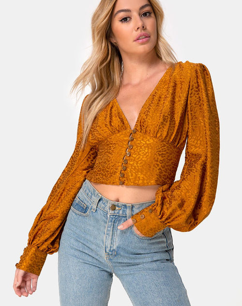 Bina Crop Top in Satin Cheetah Gold by Motel