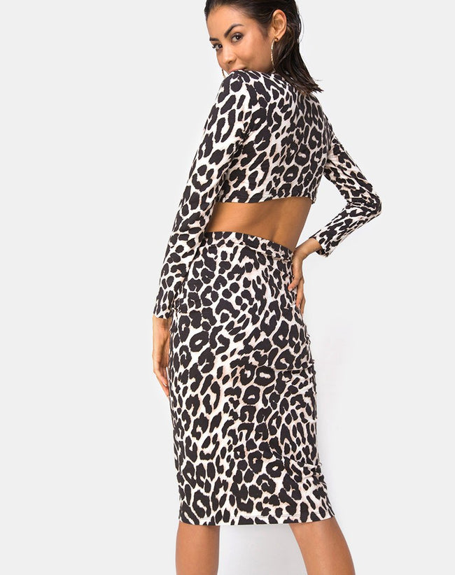 Bobby Midi Skirt in Oversize Jaguar By Motel