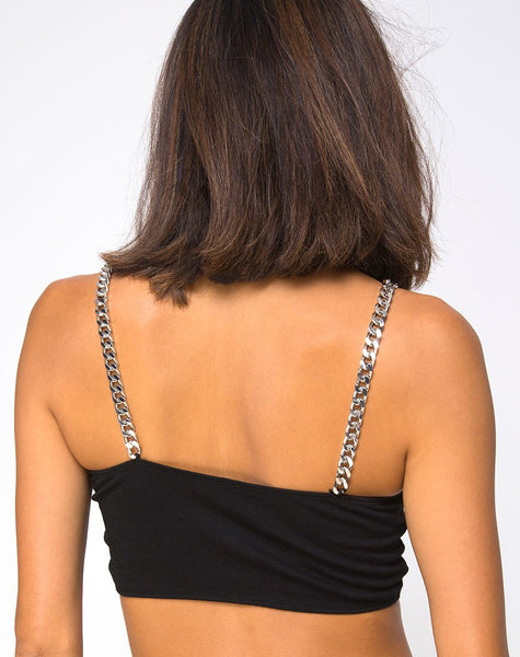 Bocha Crop Top in Black with Silver Chain By Motel