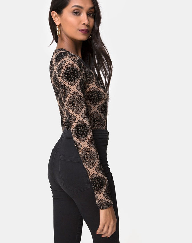 Bonella Bodice Taupe Net with Black Sign Flock by Motel