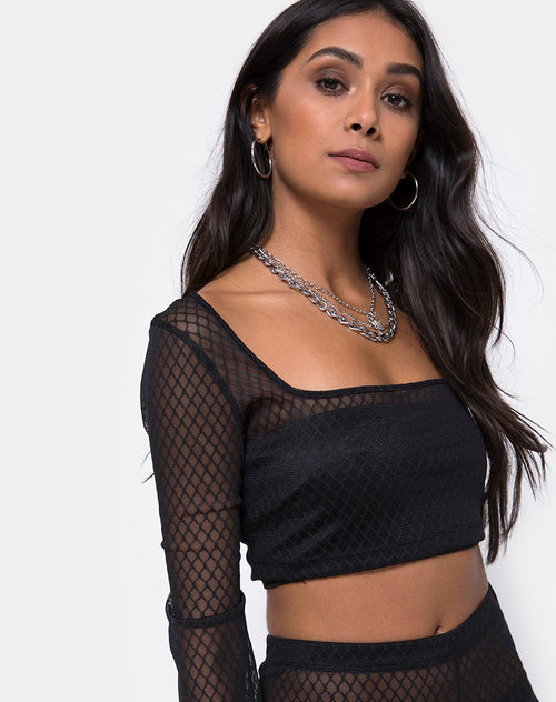 Boneta Crop Top in Black Fishnet by Motel