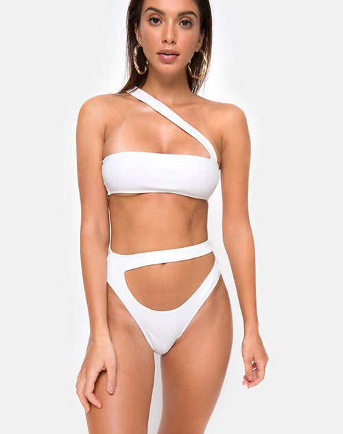 Bound Bikini Top in White by Motel