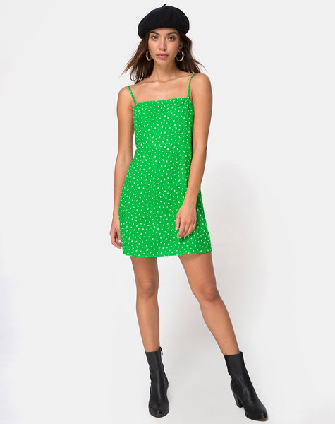 Boyasly Slip Dress in Mini Diana Dot Green by Motel