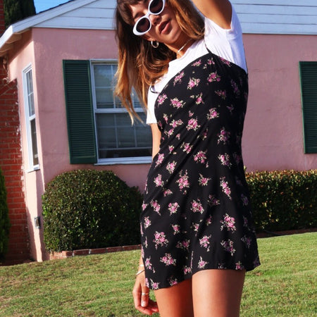 Boyasly Mini Dress in Sohey Rose Black by Motel