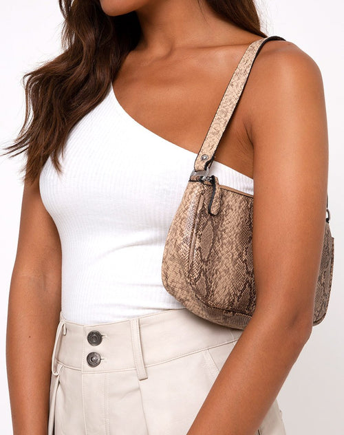 Gigi Shoulder Bag in Snake Beige