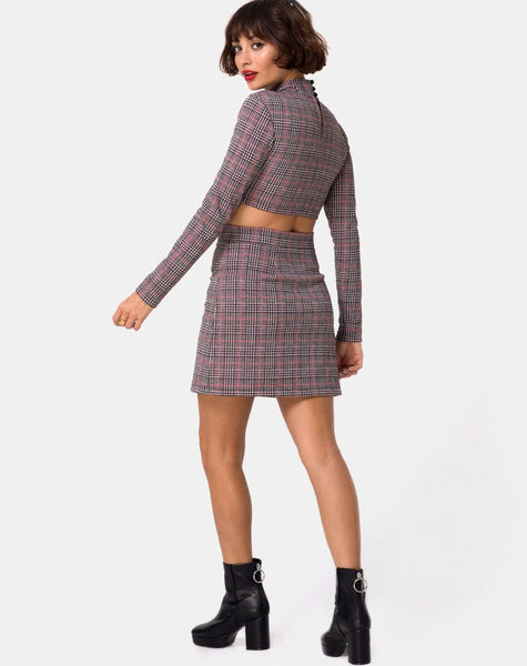 Bronti Mini Skirt in Charles Check Blush by Motel
