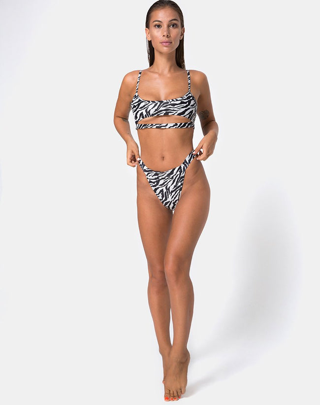 Bulvya Bikini Bottom in Mini Zebra by Motel