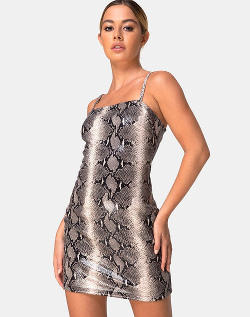 Burmay Dress in PU Beige Snake by Motel