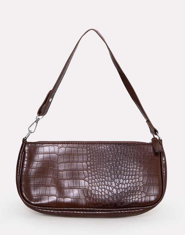 Gigi Shoulder Bag in Croc Chocolate by Motel