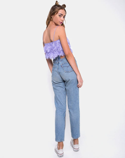Cadence Crop Top in Faux Fur Lilac by Motel