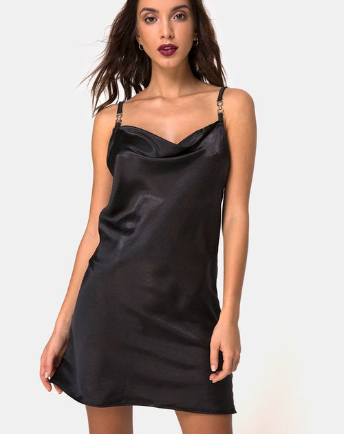 Camala Dress in Satin Black by Motel