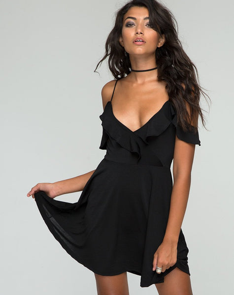 Cannes Skater Dress in Black by Motel