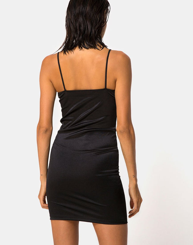 Cecile Dress in Satin Black by Motel
