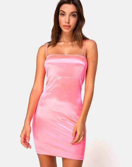 Paiva Slip Dress in Satin Dusty Rose by Motel