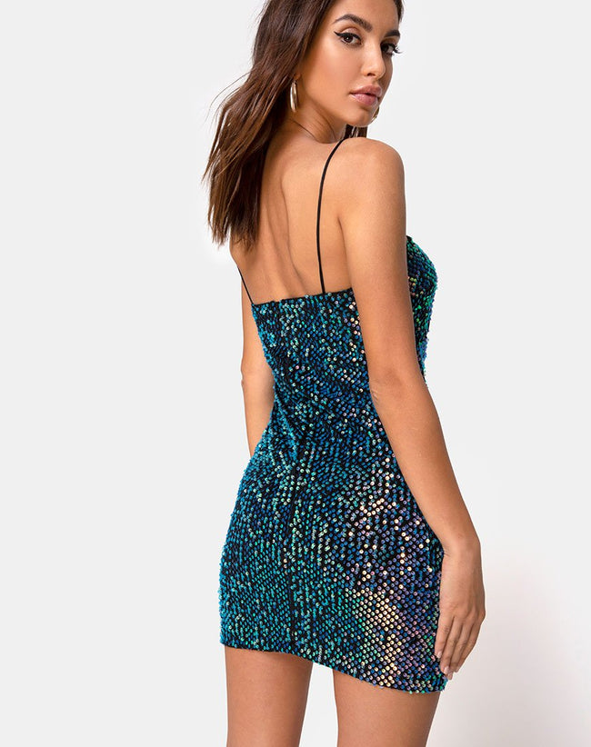 Cecile Dress in Velvet Opal Shine Sequin by Motel