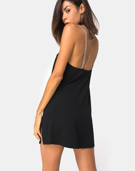 Chanista Mini Dress in Black with Silver Chain By Motel