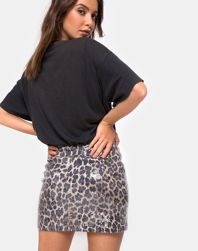 Cheri Split Mini Skirt in Leopard with Clear Sequin by Motel